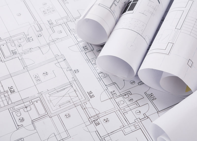architectural building design on paper